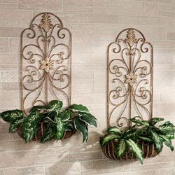 Carrolton Metal Wall Planter Set Tuscan Brick Set of Two