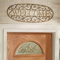 Scottsdale Wrought Iron Welcome Sign Gold/Black