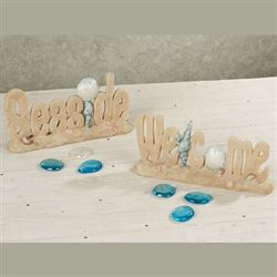 Seaside Welcome Table Accent Set Cream Set of Two