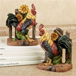 Rooster Bookend Pair Multi Jewel