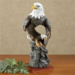 American Bald Eagle Table Sculpture Dark Brown