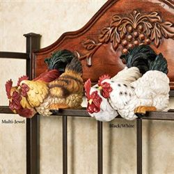 Rooster and Hen Shelf Sitter Multi Jewel