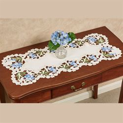 Blue Hydrangea Table Runner Cream 16 x 36