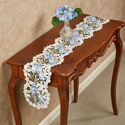 Blue Hydrangea Long Table Runner Cream 9 x 60