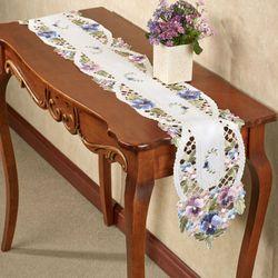 Purple Pansies Long Table Runner White 9 x 60