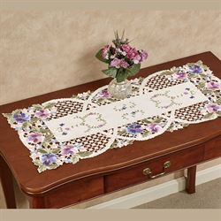 Purple Pansies Cutwork Table Runner Ivory 16 x 36