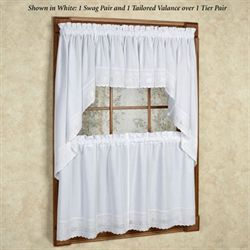 Danielle Embroidered Trim Tier Window Treatment
