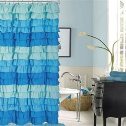Venezia Ombre Ruffled Shower Curtain French Blue 72 x 72