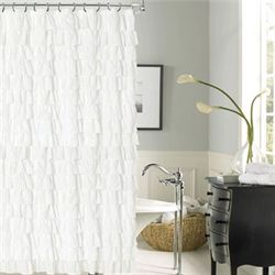 Venezia Ruffled Shower Curtain White 72 x 72