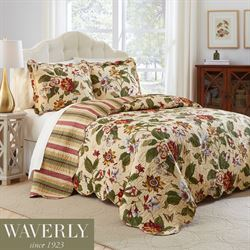 Laurel Springs Floral Bedspread Set Light Almond