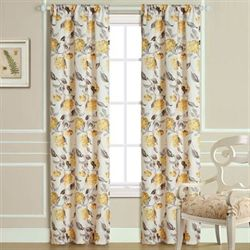 Hydrangea Bloom Curtain Pair Light Almond 72 x 84