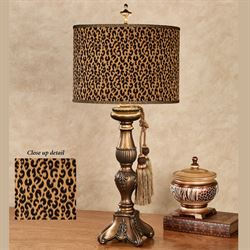 Good Cheetah Table Lamp Antique Gold Each With CFL Bulb