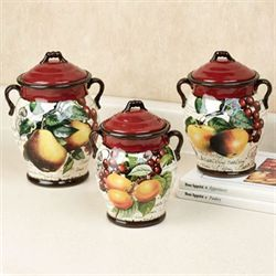 Botanical Fruit Kitchen Canister Set Merlot Set of Three