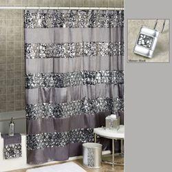Sinatra Shower Curtain Silver 70 x 72