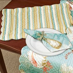 Santa Catalina Quilted Table Runner Pale Blue 14 x 51