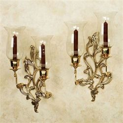 Concetta Double Wall Sconces Polished Brass Pair