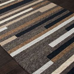 Offset Lines Rectangle Rug Grey