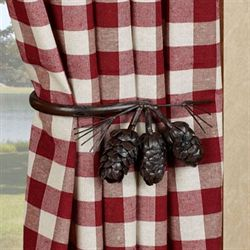 Pine Cone Curtain Holdbacks Brown Pair