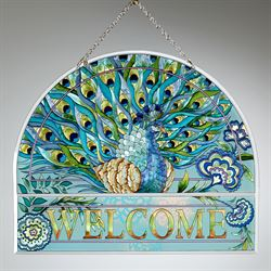 True Colors Peacock Welcome Window Art Panel Multi Bright