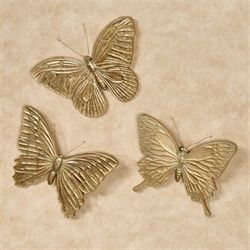 Aldora Butterfly Wall Art Gold Set of Three