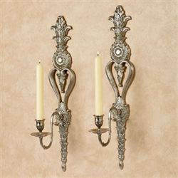 Reyna Single Taper Wall Sconces Satin Nickel Pair