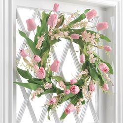 Spring Tulip Wreath Pink