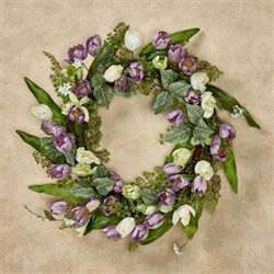 Tulips in Bloom Wreath Multi Pastel