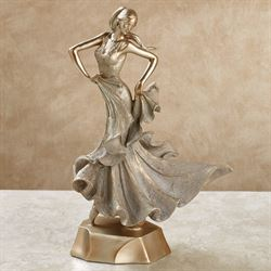 Elegant Motions Female Figurine Tarnished Gold