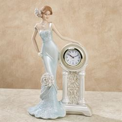 Pretty and Punctual Lady Figurine Light Blue