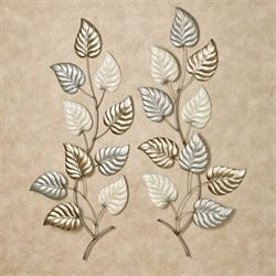 Talise Leaves Wall Art Multi Metallic Set of Two