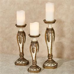 Arellia Candleholders Gold/Ivory Set of Three