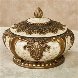 Arellia Decorative Covered Bowl Gold/Ivory