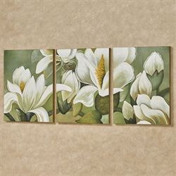 Magnolia Branch Triptych Canvas Wall Art Multi Warm Set of Three