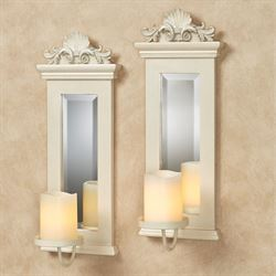 Acanthus Mirrored Wall Sconces Ivory Set of Two