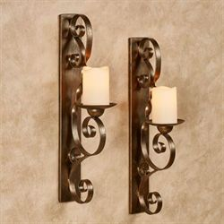 Stetson Wall Sconces Aged Gold Pair