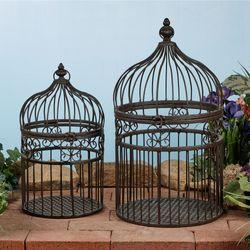 Metal Decorative Birdcages Bronze Set of Two