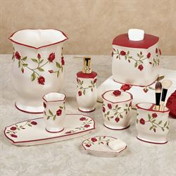 vining rose red floral bath accessories - Bathroom Accessory Sets