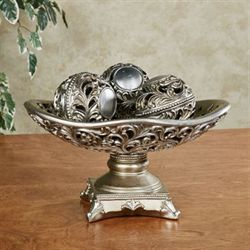 Mary Lou Centerpiece Bowl and Orbs Champagne Silver Set of Four