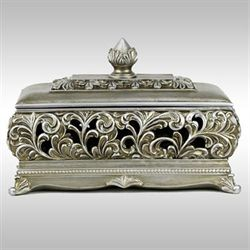 Mary Lou Decorative Covered Box Champagne Silver
