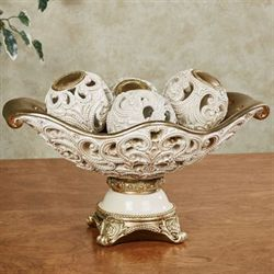 Watson Centerpiece Bowl and Orbs Ivory/Gold Set of Five
