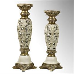 Watson Candleholders Ivory/Gold Set of Two