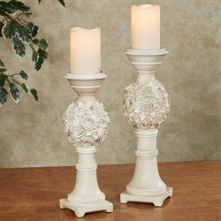 Margo Candleholders Ivory Set of Two