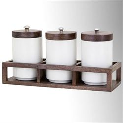 Kitchen Canisters in Wood Caddy Ivory Set of Four