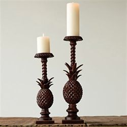 Pineapple Candleholders Aged Brown Set of Two