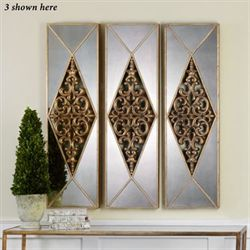 Serrano Mirrored Wall Art Panel Antique Gold