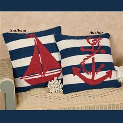 Sailboat Decorative Pillow Blue 18 Square