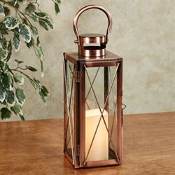 Carleigh Lantern with LED Candle Copper