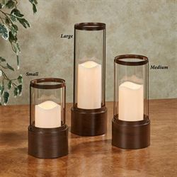 Barclay Candleholder with LED Candle Brown