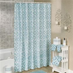 Watercolor Lattice Shower Curtain Aqua 70 x 72