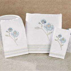 Garden Melody Bath Towel Set White Bath Hand Fingertip